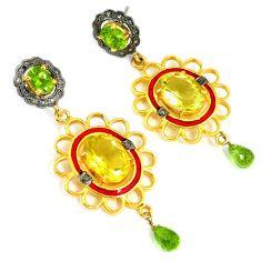 21.06cts vintage diamond lemon topaz peridot 925 silver 14k gold earrings v1322