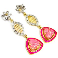 14.05cts victorian diamond rhodochrosite inca rose 925 silver earrings v1323