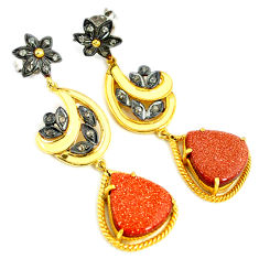 15.51cts estate natural diamond brown goldstone 925 silver gold earrings v1324