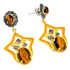 20.06cts vintage natural diamond tiger's eye 925 silver 14k gold earrings v1328