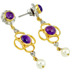 20.07cts estate natural diamond purple amethyst 925 silver gold earrings v1330