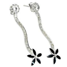 2.51cts victorian natural diamond white topaz enamel 925 silver earrings v1331