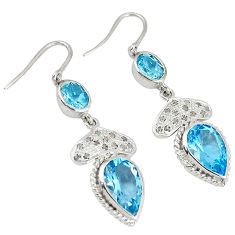 17.87cts vintage natural diamond blue topaz 925 silver earrings jewelry v1332