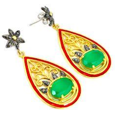 13.93cts vintage natural diamond onyx enamel 925 silver 14k gold earrings v1335