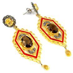 20.08cts estate diamond smoky topaz citrine 925 silver 14k gold earrings v1336
