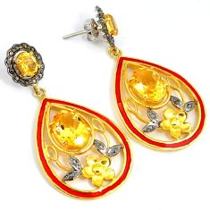 16.11cts victorian natural diamond citrine 925 silver 14k gold earrings v1337