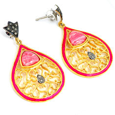 14.21cts victorian pink rhodochrosite inca rose 925 silver gold earrings v1338