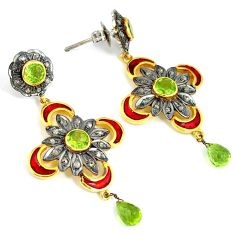 8.07cts vintage natural green peridot enamel 925 silver 14k gold earrings v1339