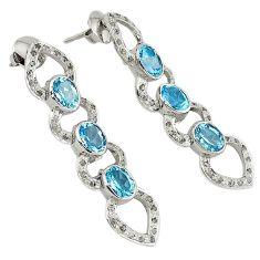 12.38cts victorian diamond blue topaz 925 silver 14k gold dangle earrings v1349