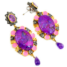 32.75cts estate diamond purple copper turquoise 925 silver gold earrings v1357