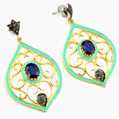 925 silver 8.68cts estate natural diamond blue sapphire 14k gold earrings v1358