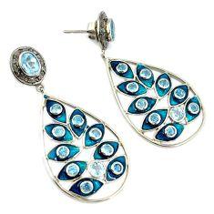 13.48cts victorian diamond blue topaz 925 silver 14k gold dangle earrings v1368