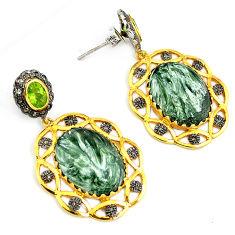 33.46cts estate diamond seraphinite (russian) 925 silver gold earrings v1370
