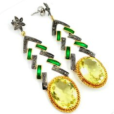 36.95cts vintage diamond lemon topaz 925 silver 14k gold dangle earrings v1374