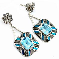 10.38cts estate natural diamond blue topaz 925 silver gold dangle earrings v1376