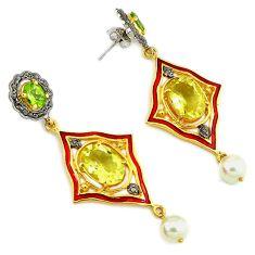 24.01cts victorian natural diamond lemon topaz 925 silver gold earrings v1379