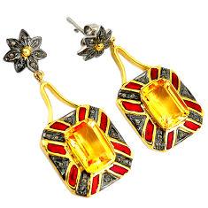 11.02cts vintage natural diamond citrine 925 silver gold dangle earrings v1380