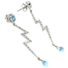 13.76cts vintage natural diamond blue topaz enamel 925 silver earrings v1383