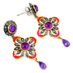 18.56cts vintage natural diamond amethyst 925 silver gold dangle earrings v1385
