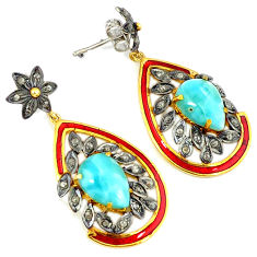 13.38cts victorian natural diamond blue larimar 925 silver gold earrings v1391