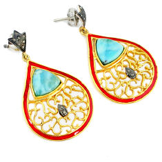 16.38cts estate natural diamond blue larimar 925 silver 14k gold earrings v1393