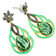 32.17cts vintage diamond seraphinite (russian) 925 silver gold earrings v1394