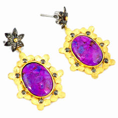 29.90cts estate diamond purple copper turquoise 925 silver gold earrings v1397