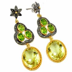 42.97cts vintage natural diamond lemon topaz 925 silver 14k gold earrings v1402