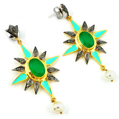 22.54cts vintage diamond green chalcedony 925 silver gold dangle earrings v1406