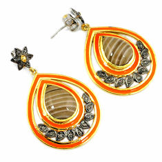 21.73cts victorian diamond striped flint ohio 925 silver gold earrings v1409