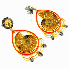 49.91cts vintage diamond brown ammonite fossil 925 silver gold earrings v1412