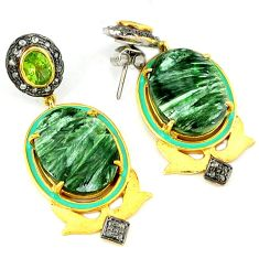 40.34cts vintage diamond seraphinite (russian) 925 silver gold earrings v1418