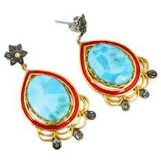 37.90cts estate natural diamond larimar 925 silver gold dangle earrings v1428