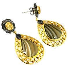 34.01cts vintage diamond grey striped flint ohio 925 silver gold earrings v1429