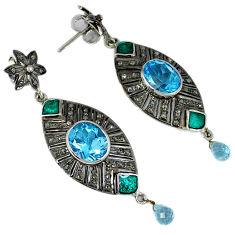 12.79cts estate natural diamond blue topaz enamel 925 silver earrings v1430
