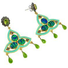 24.17cts estate diamond australian fire opal 925 silver gold earrings v1434