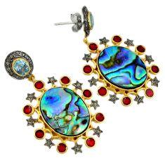 925 silver 36.26cts vintage diamond abalone paua seashell gold earrings v1435