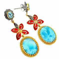 31.86cts victorian natural diamond blue larimar 925 silver gold earrings v1446