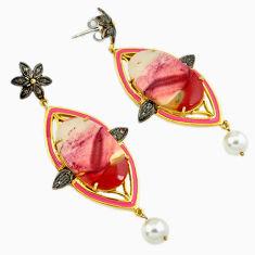 925 silver 36.85cts vintage natural diamond mookaite gold dangle earrings v1454