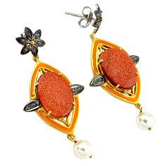 34.56cts vintage diamond brown goldstone 925 silver gold dangle earrings v1455