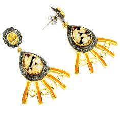 Vintage diamond peanut petrified wood fossil 925 silver gold earrings v1457