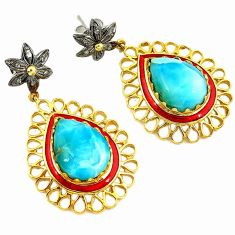 925 silver 26.52cts estate natural diamond blue larimar 14k gold earrings v1458