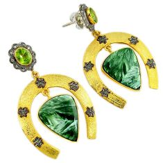 30.83cts vintage diamond seraphinite (russian) 925 silver gold earrings v1465