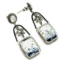 925 silver 31.46cts estate diamond dendrite opal (merlinite) earrings v1466