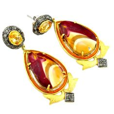 30.64cts vintage natural diamond mookaite 925 silver gold dangle earrings v1467