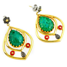 29.73cts estate natural diamond green chrysocolla 925 silver gold earrings v1469