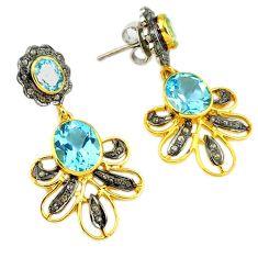 14.43cts victorian diamond blue topaz 925 silver 14k gold dangle earrings v1470