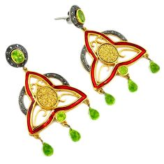20.38cts victorian diamond golden druzy peridot 925 silver gold earrings v1472