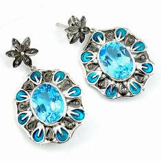 21.50cts vintage diamond blue topaz enamel 925 silver dangle earrings v1476