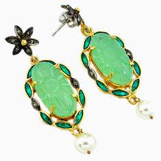 38.93cts vintage natural diamond aqua chalcedony 925 silver gold earrings v1479